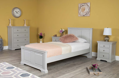 Westcott Light Grey Solid Wood Bed Frame - 3ft Single - The Oak Bed Store