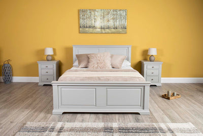 Westcott Light Grey Solid Wood Bed Frame - 5ft King Size - The Oak Bed Store
