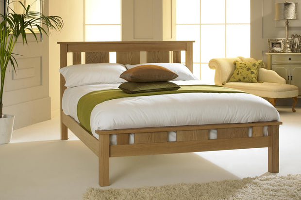 Lyon Solid Natural Oak Bed Frame 4ft - Small Double - The Oak Bed Store
