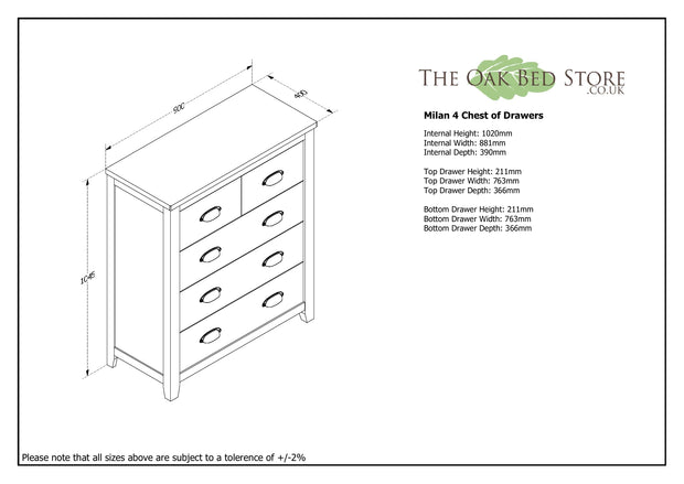 Milan Light Grey & Oak 4 Drawer Chest of Drawers - The Oak Bed Store