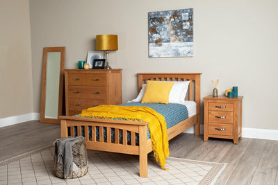 Madrid Solid Oak Bed Frame 3ft - Single - The Oak Bed Store