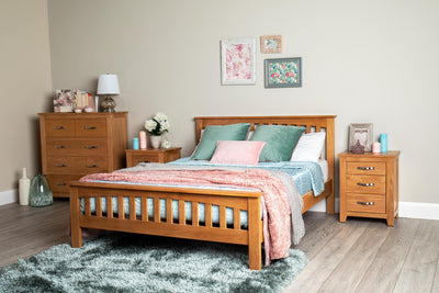 Madrid Solid Oak Bed Frame 4ft6 - Double - The Oak Bed Store