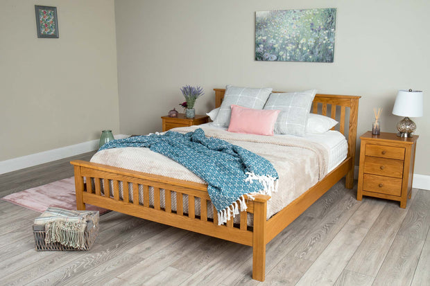 Madrid Rustic Solid Oak Bed Frame - 5ft King Size - The Oak Bed Store