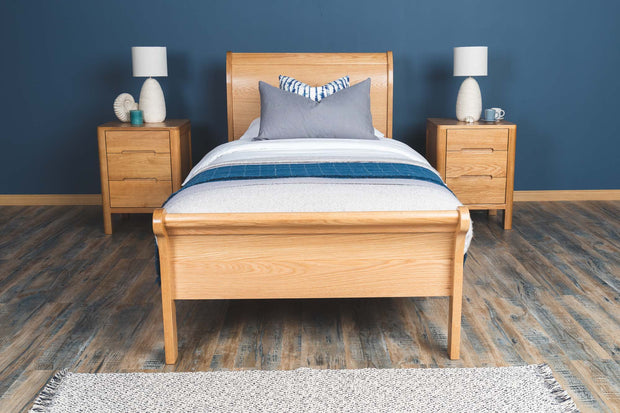 Mayfair Solid Natural Oak Sleigh Bed Frame 3ft - Single