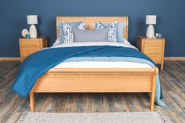 Mayfair Solid Natural Oak Sleigh Bed Frame 4ft6 - Double