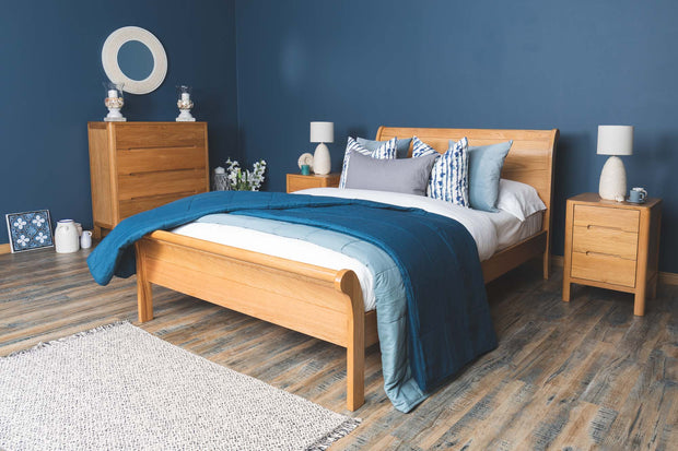 Mayfair Solid Natural Oak Sleigh Bed Frame 4ft6 - Double - The Oak Bed Store