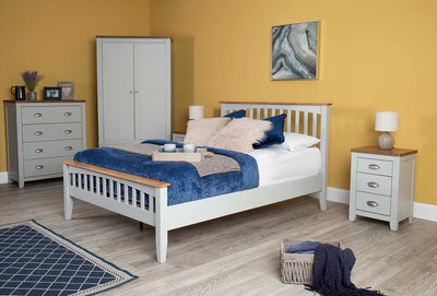 Milan Light Grey & Oak Wooden Bed Frame - 4ft6 Double - The Oak Bed Store