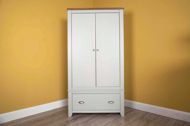 Milan Light Grey & Oak 1 Drawer Double Wardrobe - The Oak Bed Store