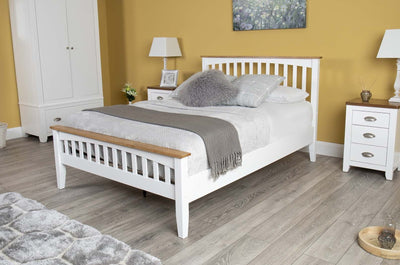 Milan White & Oak Wooden Bed Frame - 5ft King Size - The Oak Bed Store