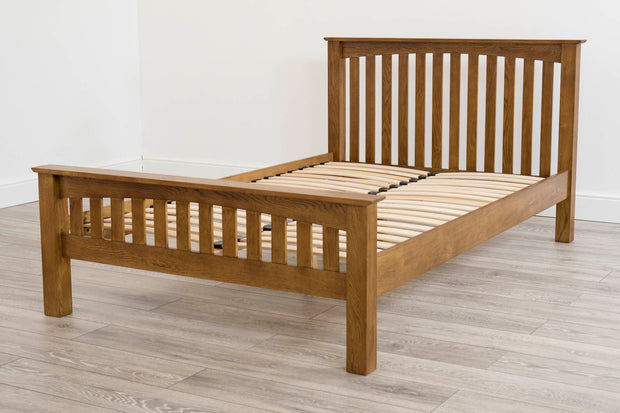 Milan Rustic Dark Brown Solid Oak Bed Frame 4ft6 - Double - The Oak Bed Store