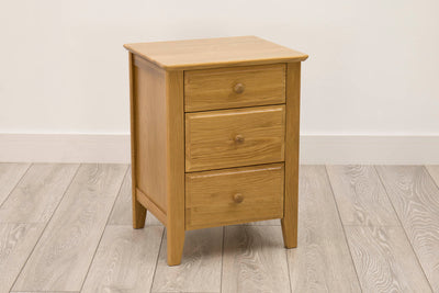 Milano Natural Oak 2+1 Drawer Bedside Table - The Oak Bed Store