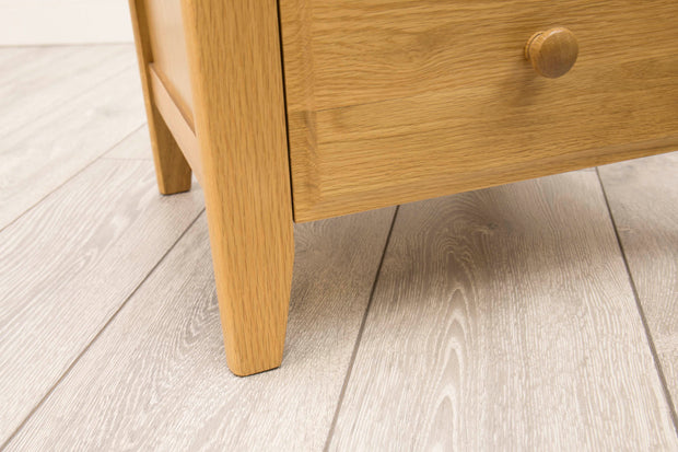 Natural Oak 2+1 Drawer Bedside Table - Style 9 - The Oak Bed Store