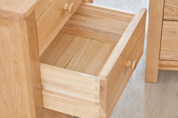 Natural Oak 2+1 Drawer Bedside Table - The Oak Bed Store
