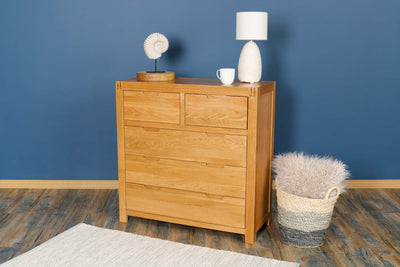 Natural Oak 2 Over 3 Drawer Chest of Drawers - Style 5