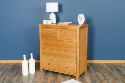Natural Oak 2 Over 3 Drawer Chest of Drawers - Style 6