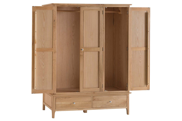 New Thornton Large 2 Drawer Triple Wardrobe - The Oak Bed Store