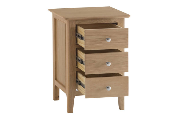New Thornton Large 3 Drawer Bedside Table - The Oak Bed Store