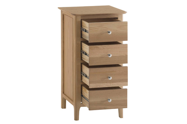 New Thornton Narrow 4 Drawer Chest of Drawers - The Oak Bed Store