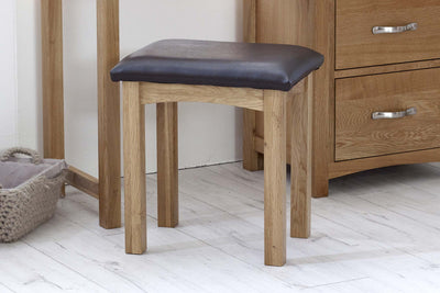 Thornton Oak Dressing Table Stool - The Oak Bed Store