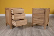 Natural Oak 2+1 Drawer Bedside Table - Style 2 - The Oak Bed Store