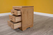 Natural Oak 2+1 Drawer Bedside Table - Style 3 - The Oak Bed Store