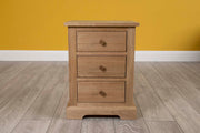 Natural Oak 2+1 Drawer Bedside Table - Style 4 - The Oak Bed Store