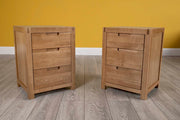 Natural Oak 2+1 Drawer Bedside Table - Style 5 - The Oak Bed Store