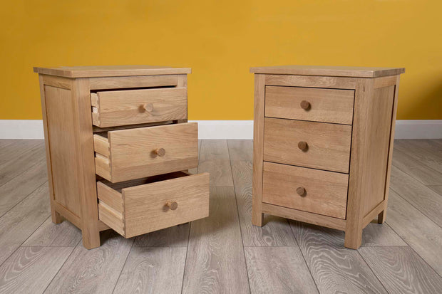 Natural Oak 2+1 Drawer Bedside Table - Style 6 - The Oak Bed Store