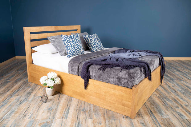 Goodwood Oak Ottoman Storage Bed Frame - 4ft6 Double - The Oak Bed Store