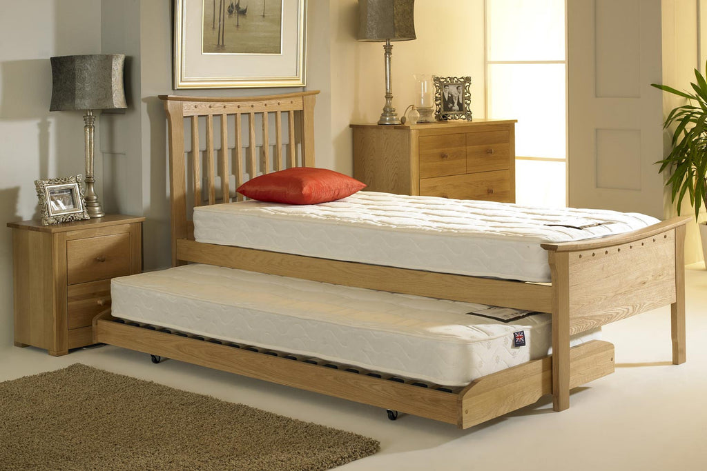 portman solid oak guest bed 3ft single the oak bed store. Black Bedroom Furniture Sets. Home Design Ideas