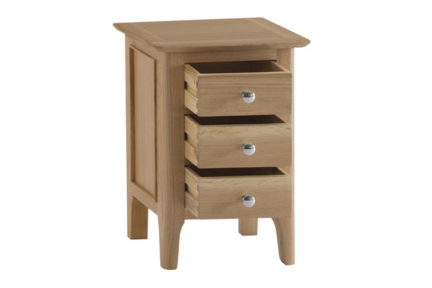 New Thornton Narrow 3 Drawer Bedside Table - The Oak Bed Store