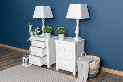 Soft White 2+1 Drawer Bedside Table - Style 6