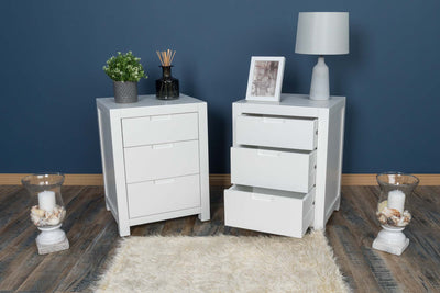 Soft White 2+1 Drawer Bedside Table - Style 5