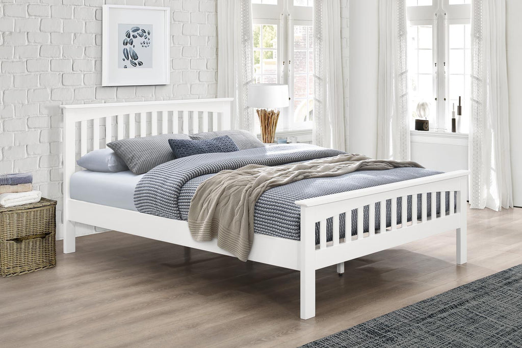 stanstead white solid wood bed frame 3ft single the. Black Bedroom Furniture Sets. Home Design Ideas
