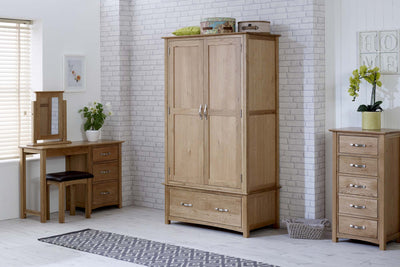 Thornton Oak 1 Drawer Double Wardrobe - The Oak Bed Store