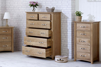 Thornton Oak 2 over 4 Chest of Drawers - The Oak Bed Store