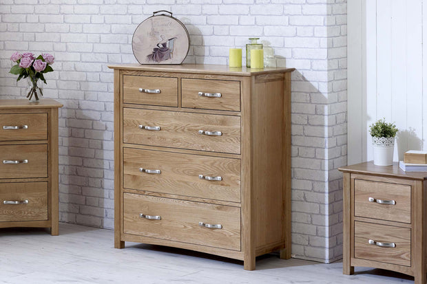 Thornton Oak 2 over 3 Chest of Drawers - The Oak Bed Store