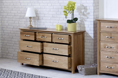 Thornton Oak 3 over 4 Chest of Drawers - The Oak Bed Store
