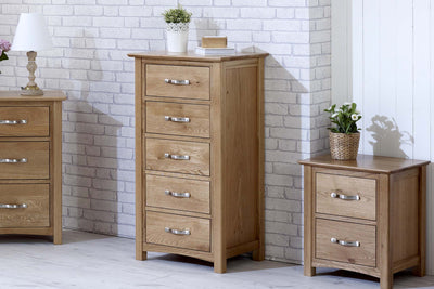 Thornton Oak 5 Drawer Wellington Chest of Drawers - The Oak Bed Store