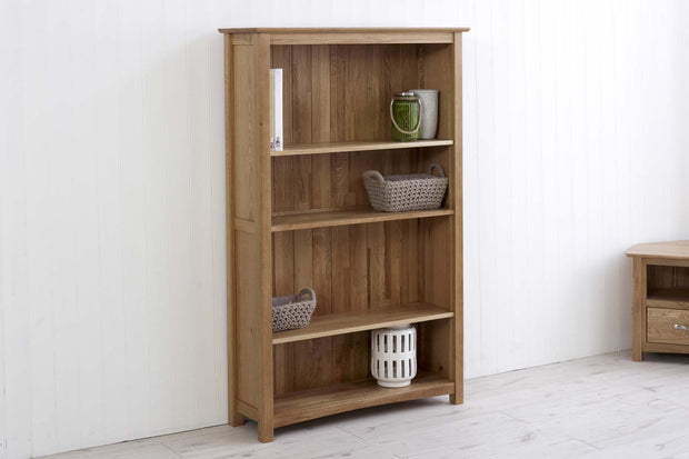 Thornton Oak Wide Bookcase - The Oak Bed Store