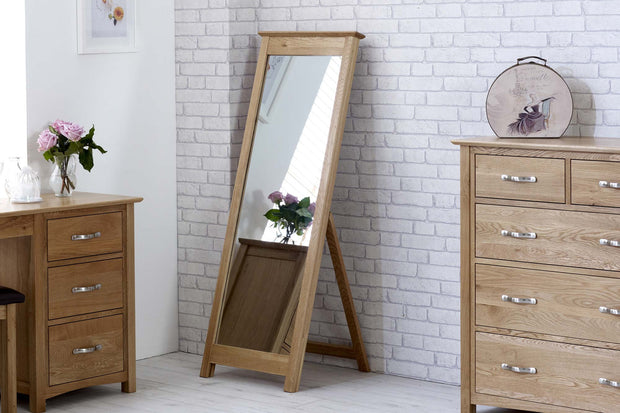 Natural Oak Cheval Mirror - The Oak Bed Store