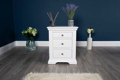 Westcott Soft White 2 + 1 Drawer Bedside Table - The Oak Bed Store