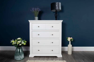 Westcott Soft White 4 Drawer Chest of Drawers - The Oak Bed Store