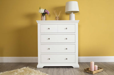 Westcott White 4 Drawer Chest of Drawers - The Oak Bed Store