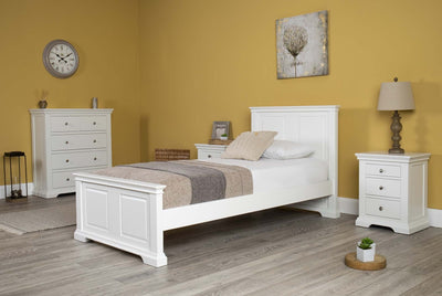 Westcott Soft White Solid Wood Bed Frame - 3ft Single - The Oak Bed Store