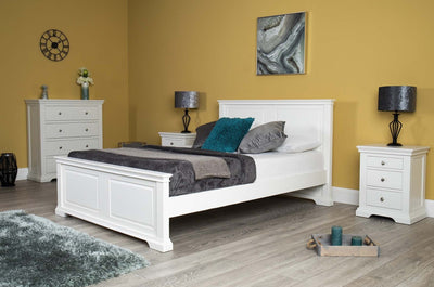 Westcott Soft White Solid Wood Bed Frame - 4ft6 Double - The Oak Bed Store
