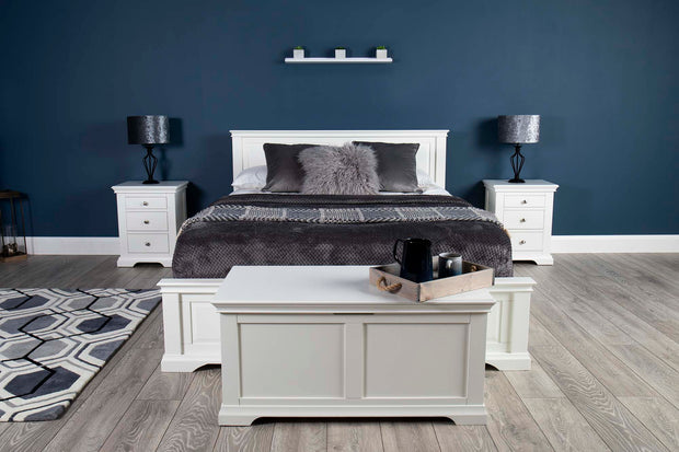Westcott White Solid Wood Storage Bed 4ft6 - Double - The Oak Bed Store