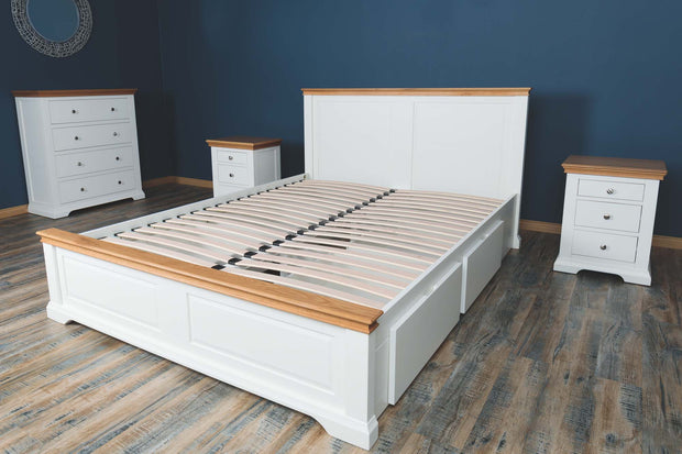 Westcott Soft White & Natural Oak Solid Wood Storage Bed Frame 6ft - Super King