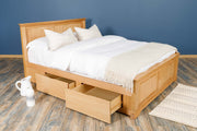 Westcott Solid Natural Oak Storage Bed Frame - 5ft King Size