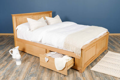 Westcott Solid Natural Oak Storage Bed Frame - 6ft Super King